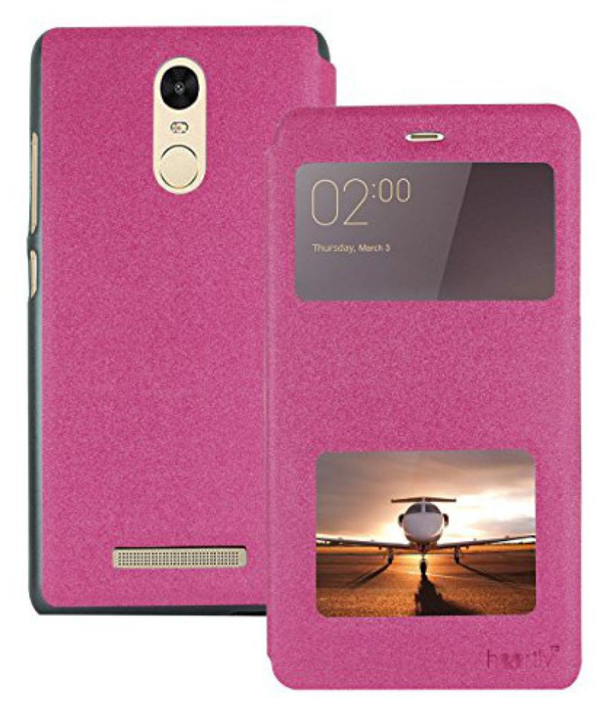 Heartly GoldSand Sparkle Luxury PU Leather Window Flip Stand Back Case Cover For Xiaomi Redmi Note 3 - Cute Pink