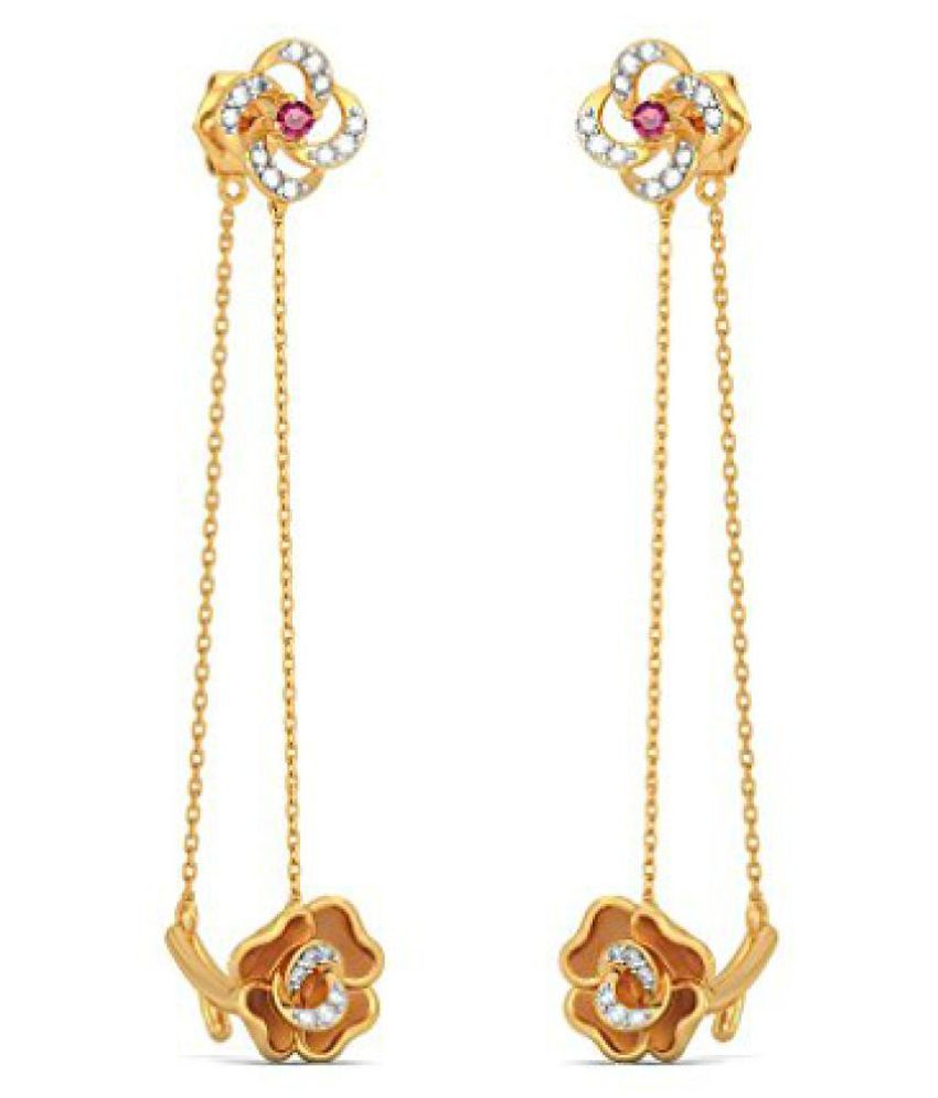 6febfdddd BlueStone 18k Yellow Gold and Diamond Kanchana Trail Drop Earrings - Buy  BlueStone 18k Yellow Gold and Diamond Kanchana Trail Drop Earrings Online  at Best ...