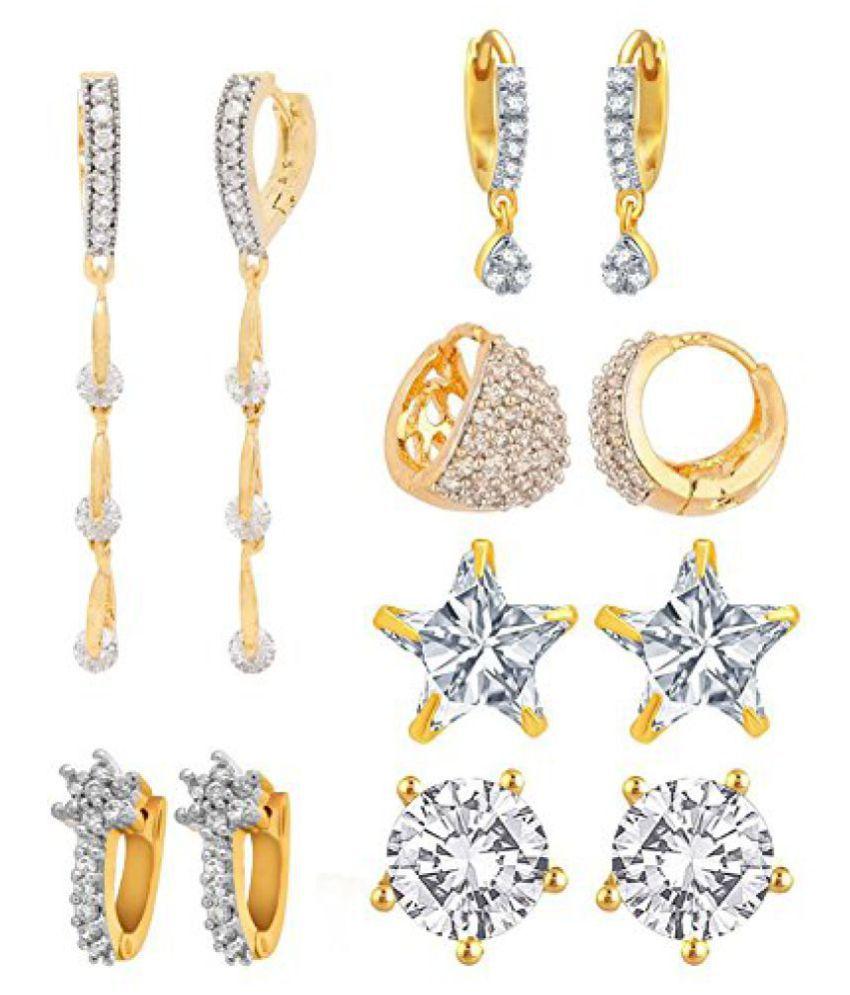 Jewels Galaxy Premium Fancy American Diamond Earrings - Combo Of 6