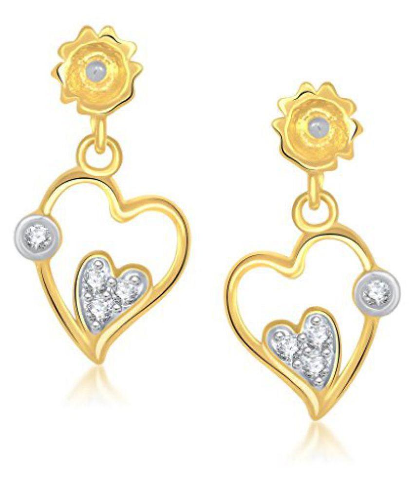 VK Jewels Charming Heart Gold And Rhodium Plated Dangle & Drop Earring for Women -ER1166G [VKER1166G]