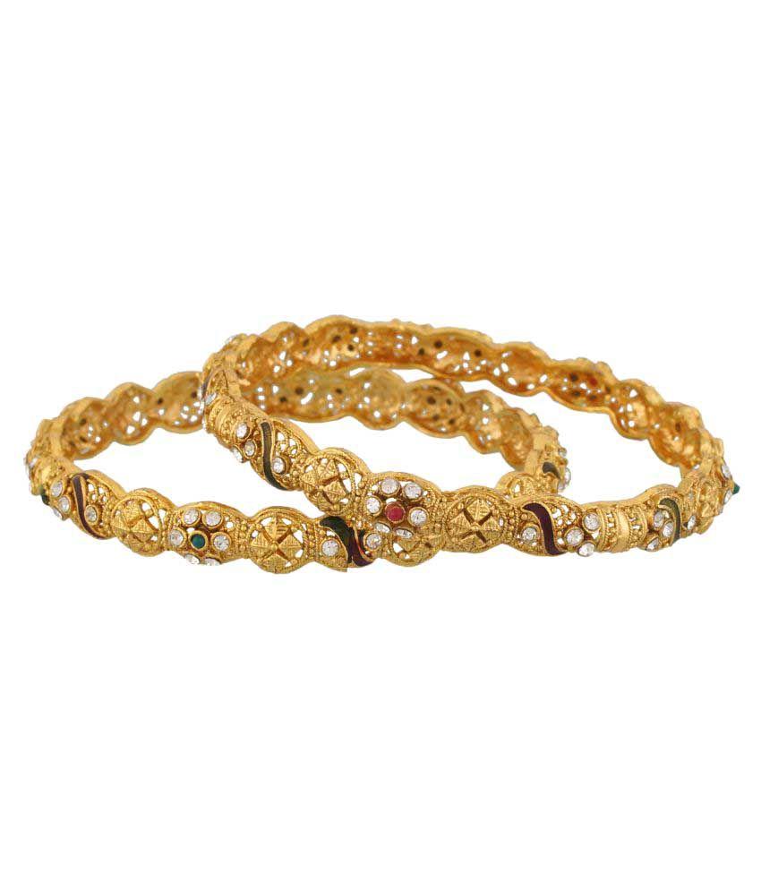Vama Golden American Diamond Designer Pair of Bangles