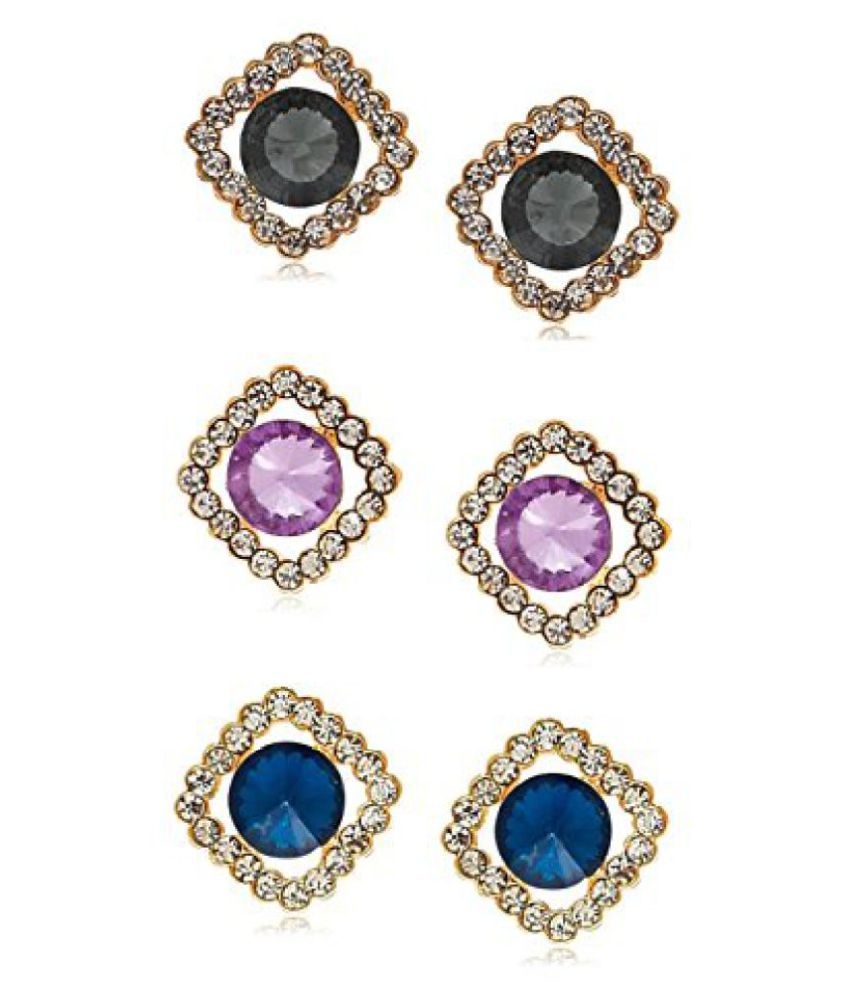 YouBella Lamore Collection Crystal Jewellery Combo of Stud Earrings for Girls and Women