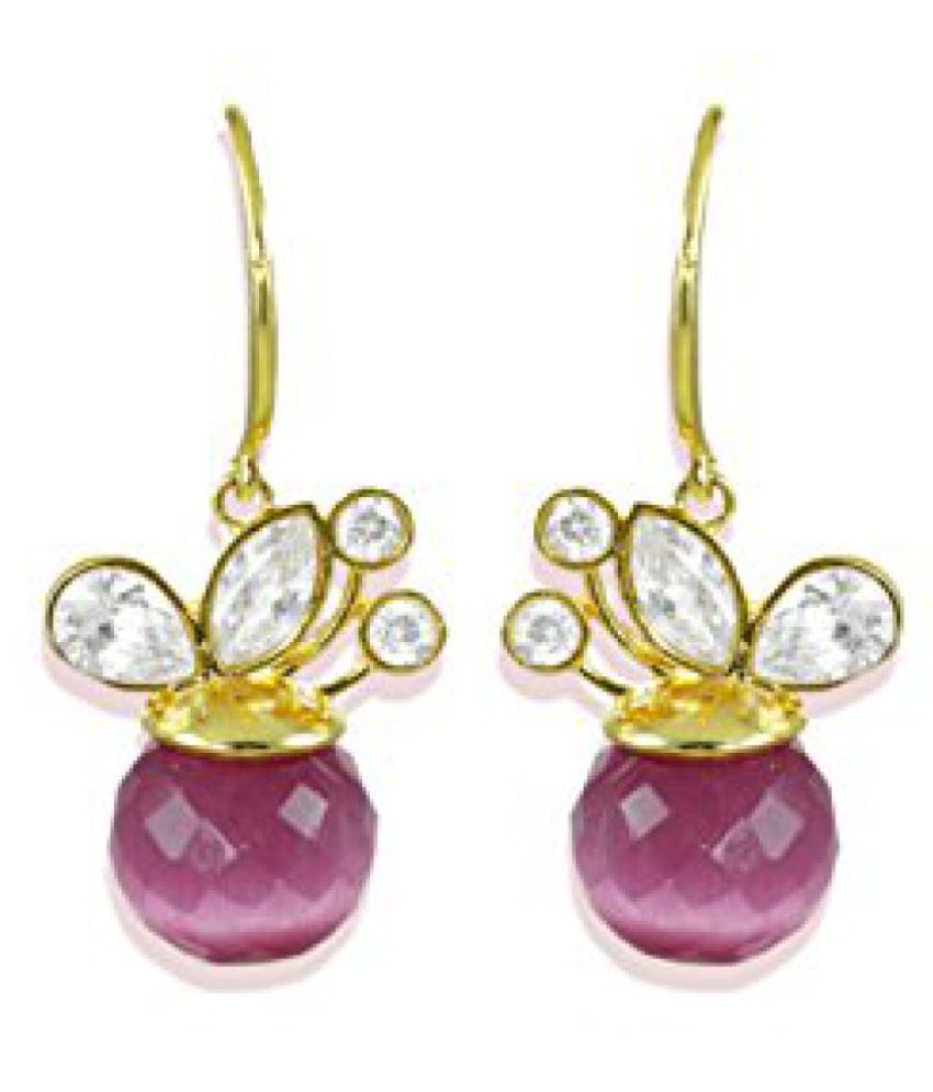 Zaveri Pearls Sparkling Purple Semi Precious CZ Stones Dangler Earrings - ZPFK5109