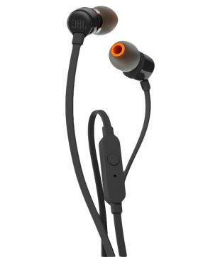 JBL T110 A In Ear Wired Earphones With Mic Black Handsfree