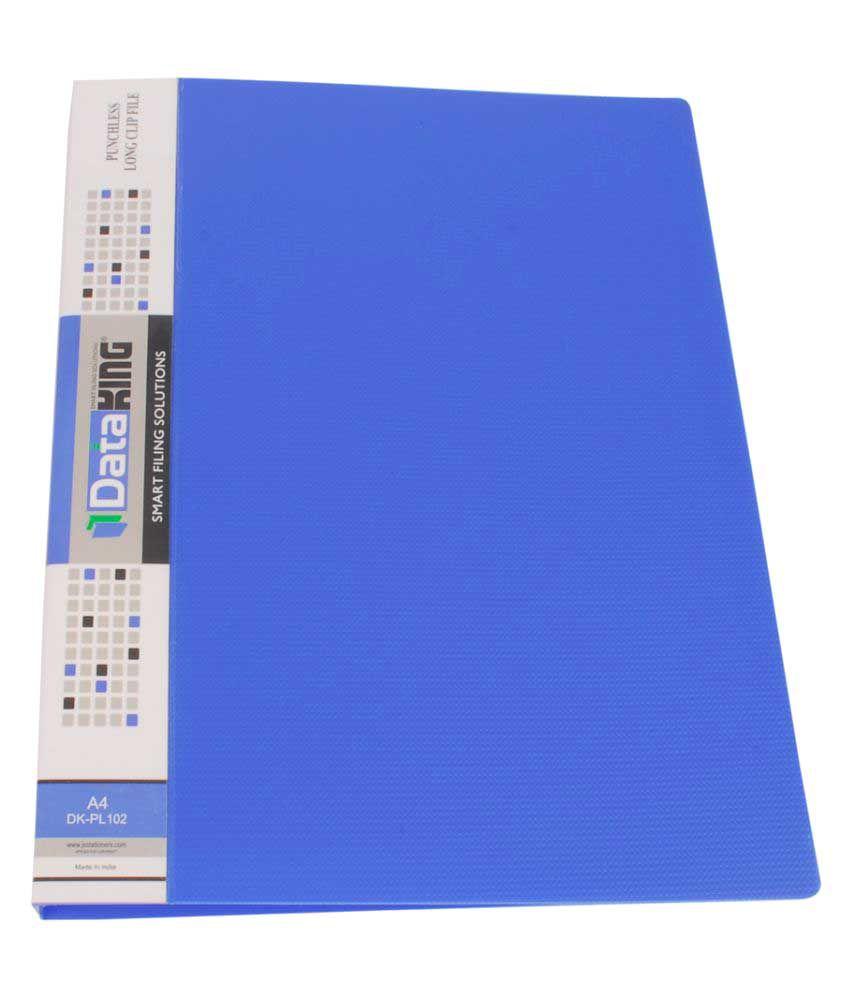 DataKing Blue Polypropylene Clip File - Set of 3