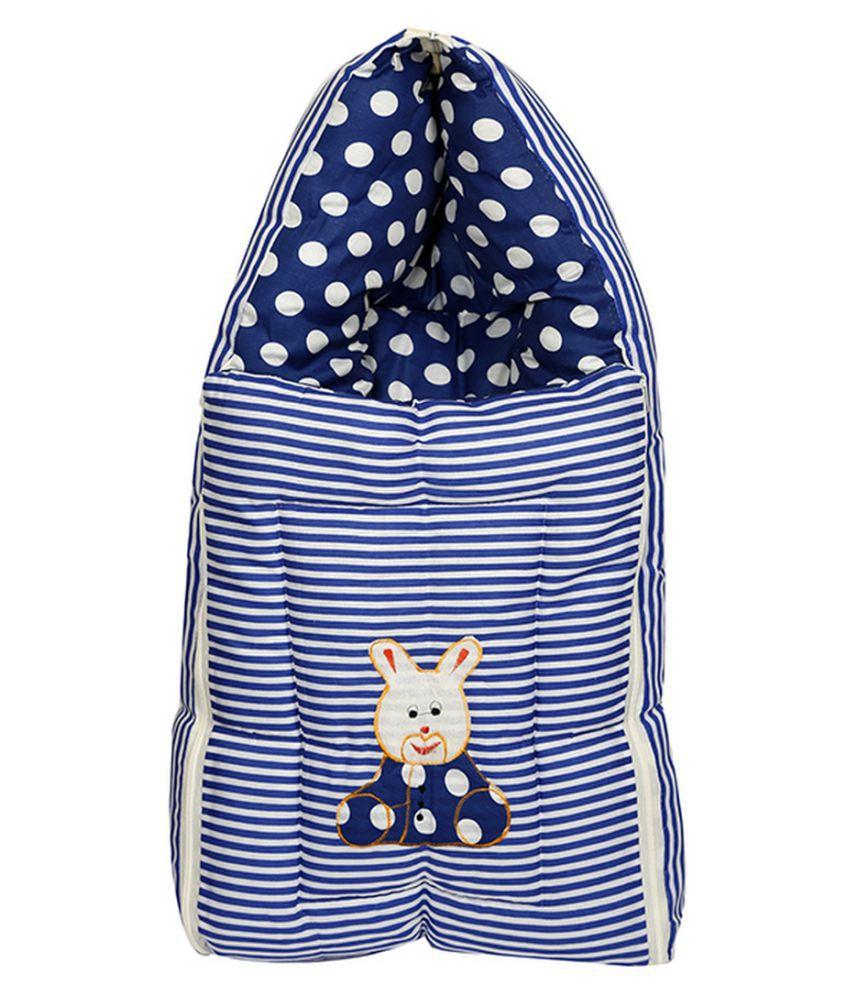 Shishu.online Blue Cotton Baby Wrap cum blanket ( 50 cm × 30 cm - 1 pcs)