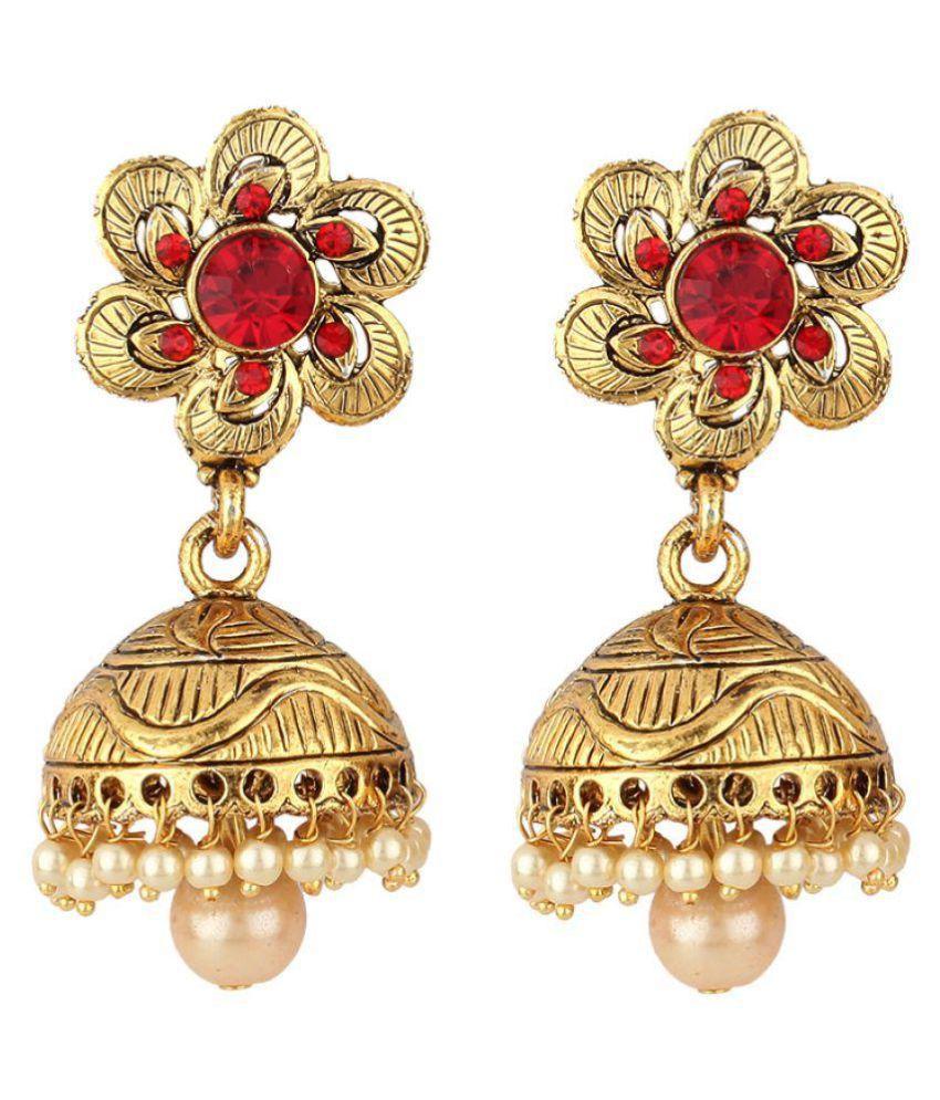 Jewels Guru Exclusive Golden Multi Colour Jhumki Earring