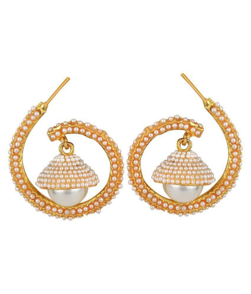 Jewels Guru Golden Alloy Earrings