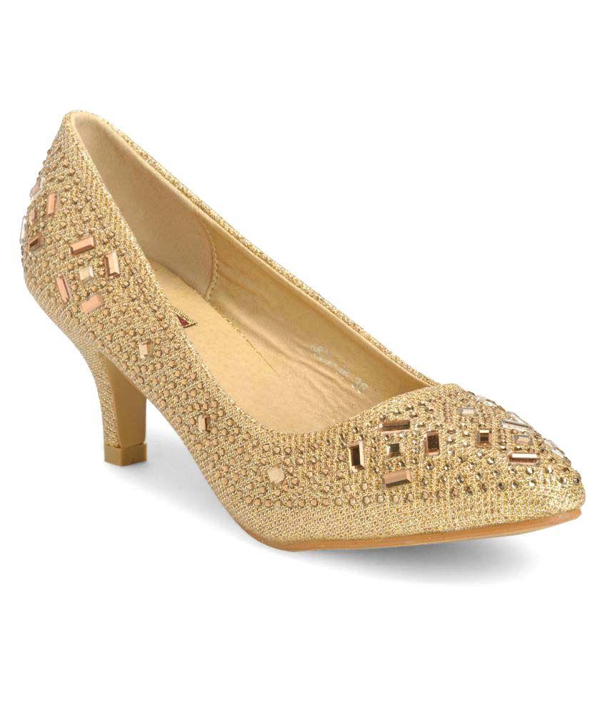 Flat n Heels Gold Cone Heels