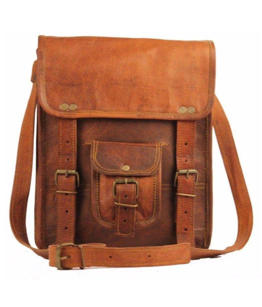 Pranjals House NA Brown Leather Office Messenger Bag