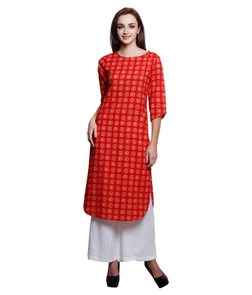 Jaipur Attire Red Cotton Straight Kurti