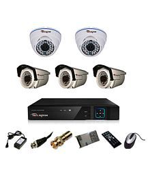Tentronix 8 CH AHD DVR, 2 X 1.3 MP Dome Camera And 3 X 1.3mp Bullet Camera ,8 CH SMPS,BNC,Dcpin, Remote, Mouse Surveillance Kit