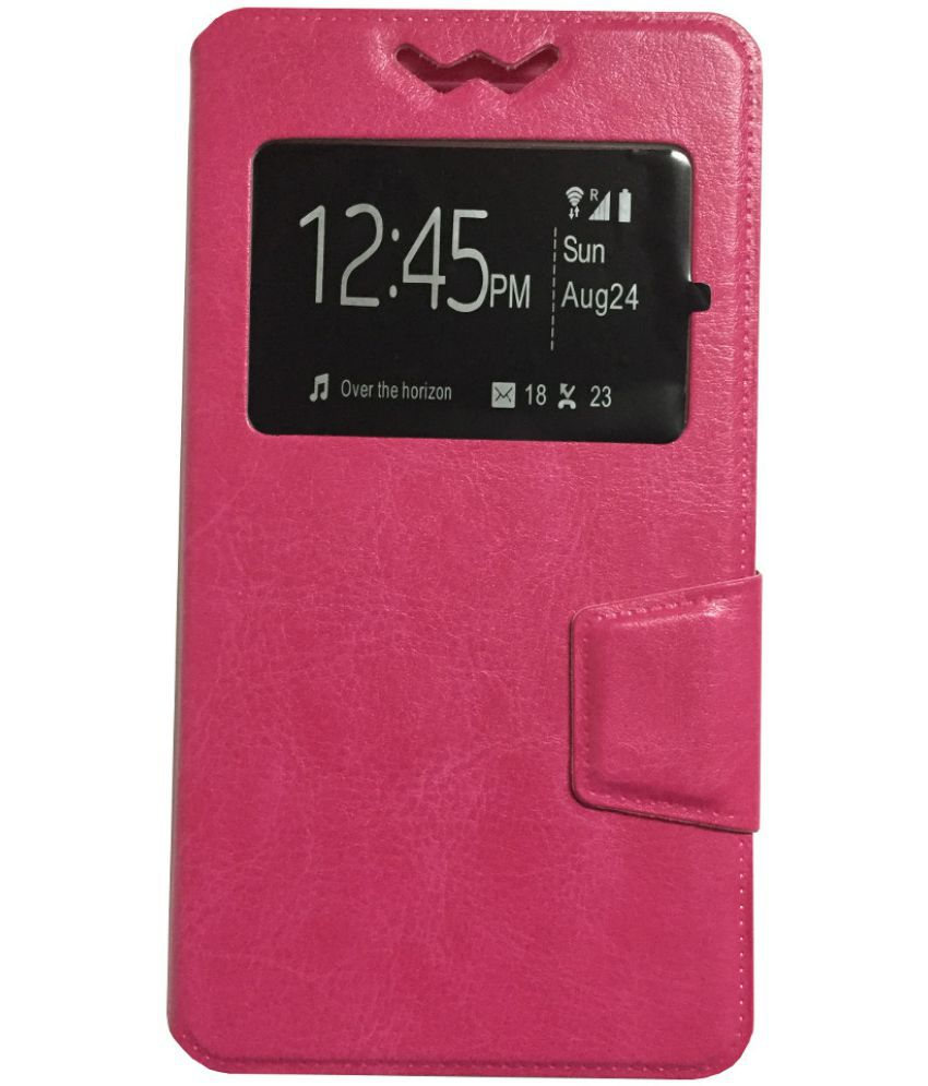 HTC Desire 620 Flip Cover by Lomoza - Pink