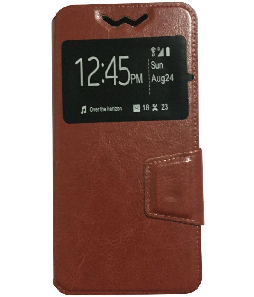 Intex Aqua HD 5.0 Flip Cover by Lomoza - Brown