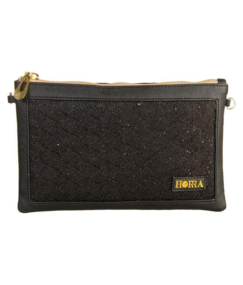 Horra Black Faux Leather Box Clutch