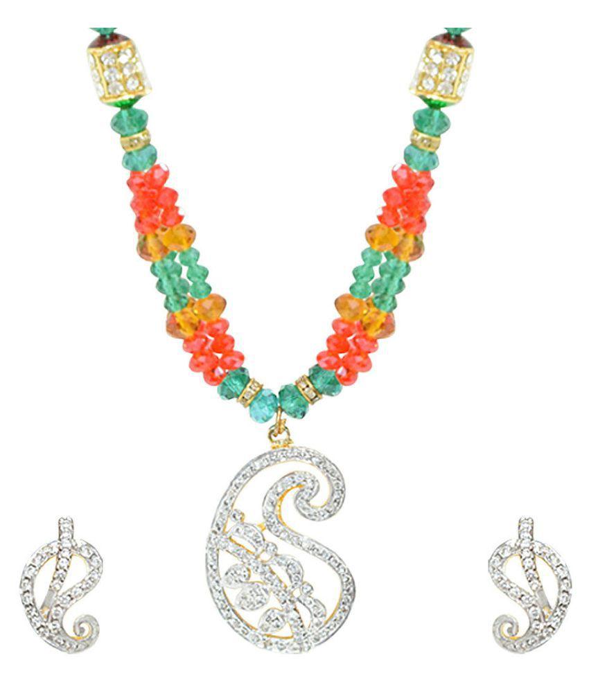 Jewellerkaka Beautiful Cz Pendant With Beaded Mala Necklace Set