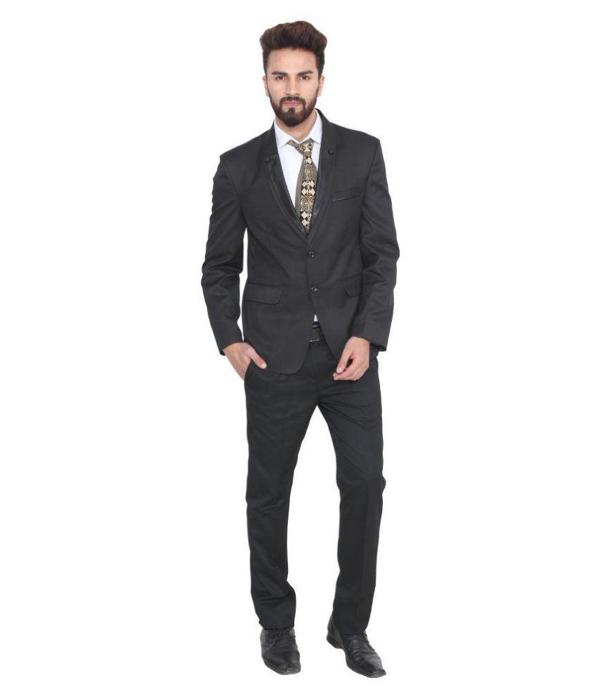 Lee Marc Black Solid Formal Suit