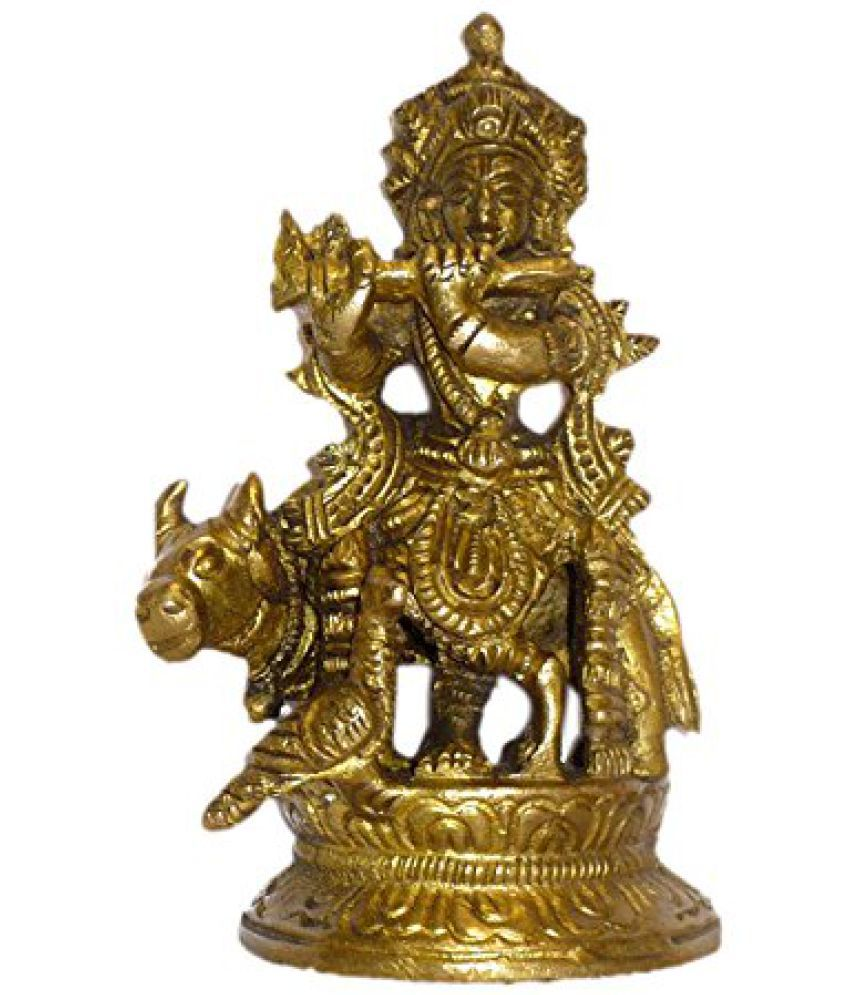 Brass Metal Krishna With Cow Statue by Bharat Haat  BH01492