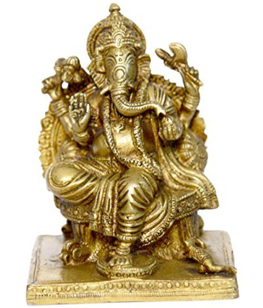 Brass Metal Brass Metal Lord of Rajvadi Ganesh in Fine finishing art by Bharat Haat  BH01044