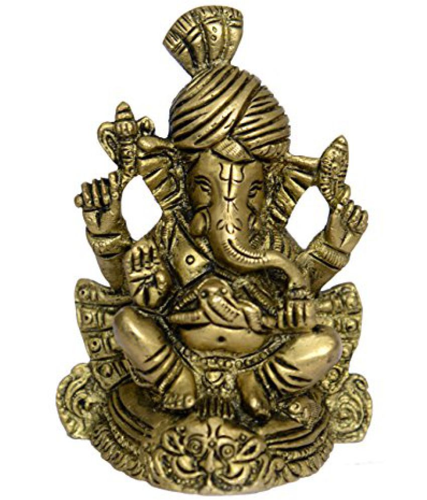 Hand Brass Metal Lord Statue Of Paghadi(Turban) Ganesh Small in Fine Work by Bharat Haat  BH01068