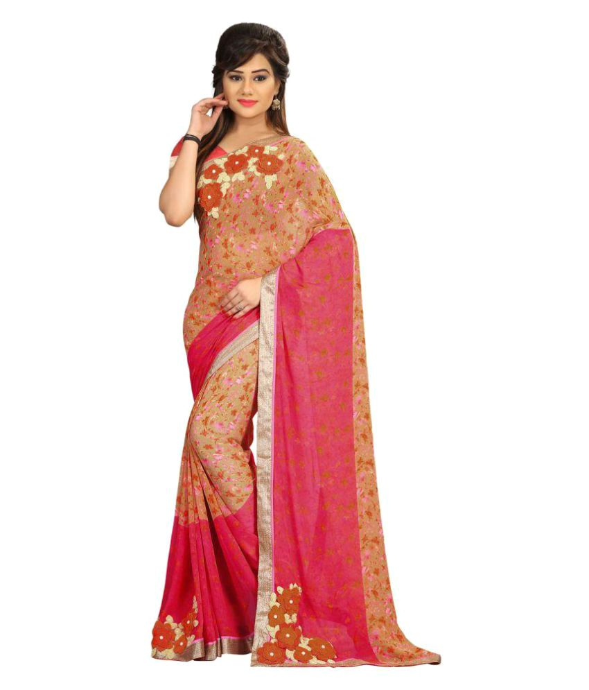 Shaily Retails Red and Pink Georgette Saree