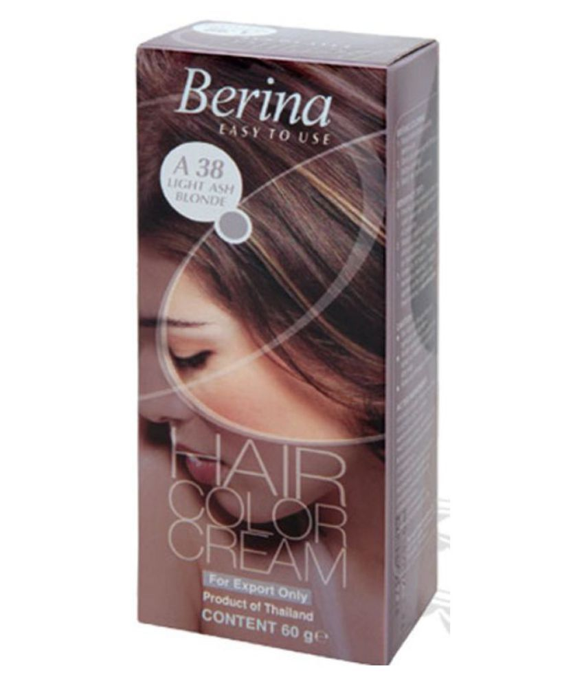 BERINA HAIR CCOLOR CREAM A38 LIGHT ASH BLONDE Permanent Hair Color Blonde 60 gm
