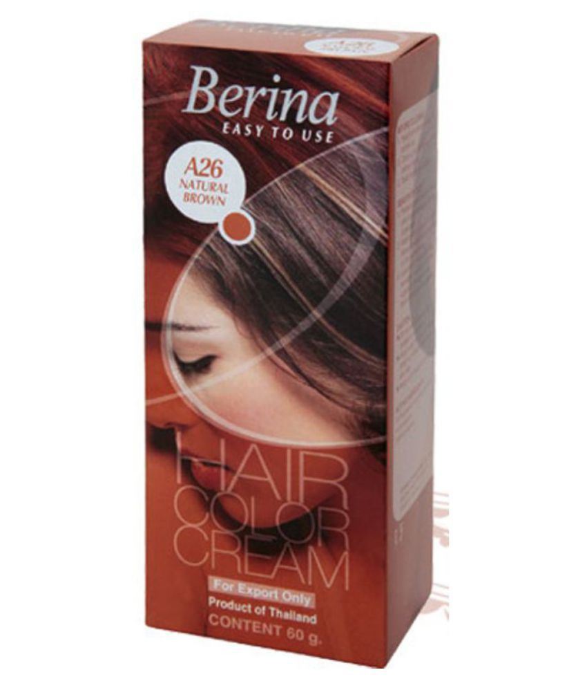 BERINA HAIR CCOLOR CREAM A26 NATURAL BROWN Permanent Hair Color Brown 60 gm