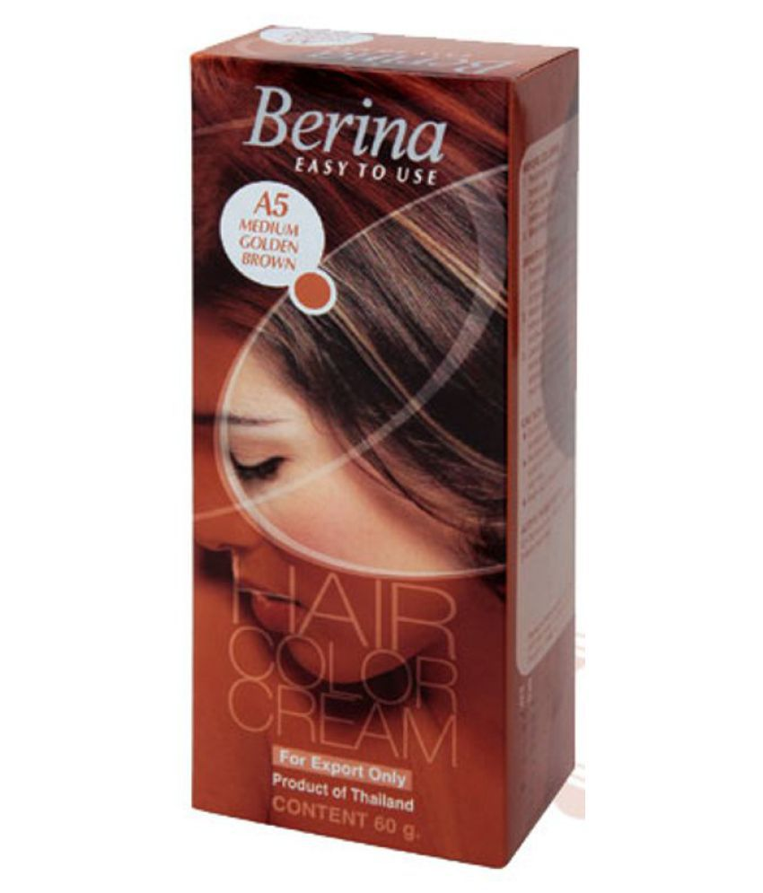 BERINA HAIR CCOLOR CREAM A5 MEDIUM GOLDEN BROWN Permanent Hair Color Brown 60 gm