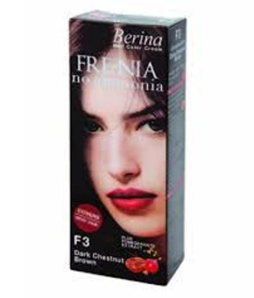 BERINA FRE-NIA F3 NO AMMONIA DARK CHESTNUT BROWN Permanent Hair Color Deep Chestnut 60 gm
