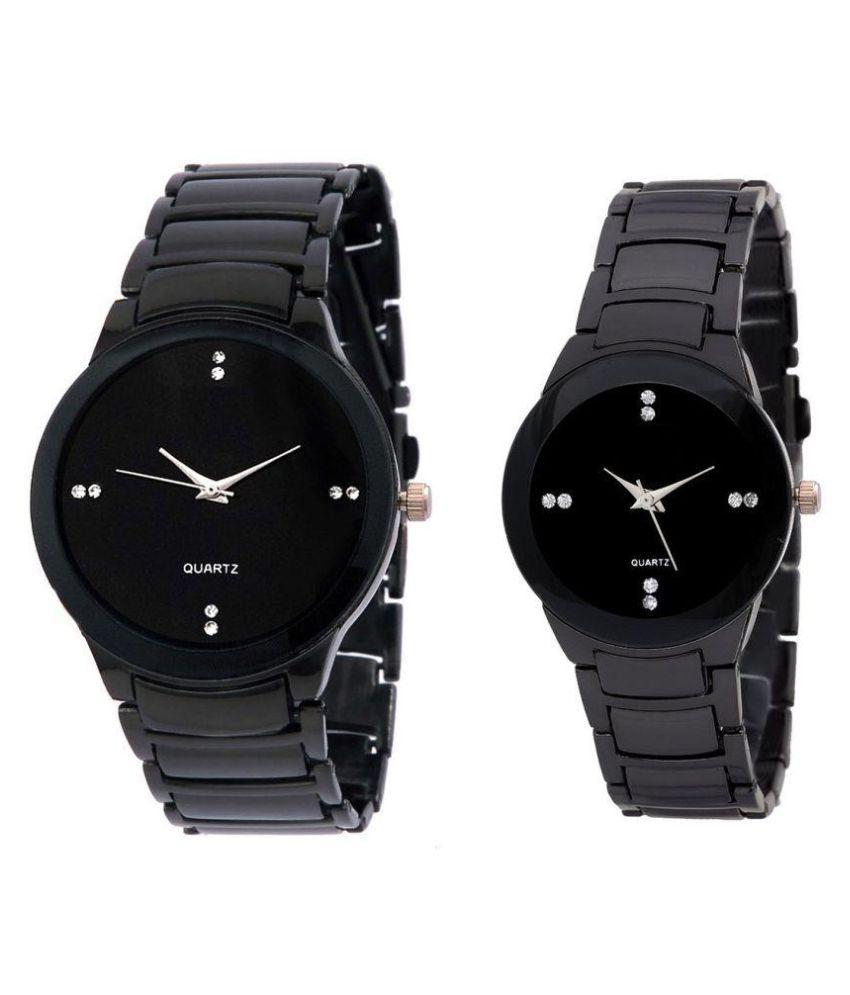 The Suhagiya Shopping Black Analog Couple Watch Price In