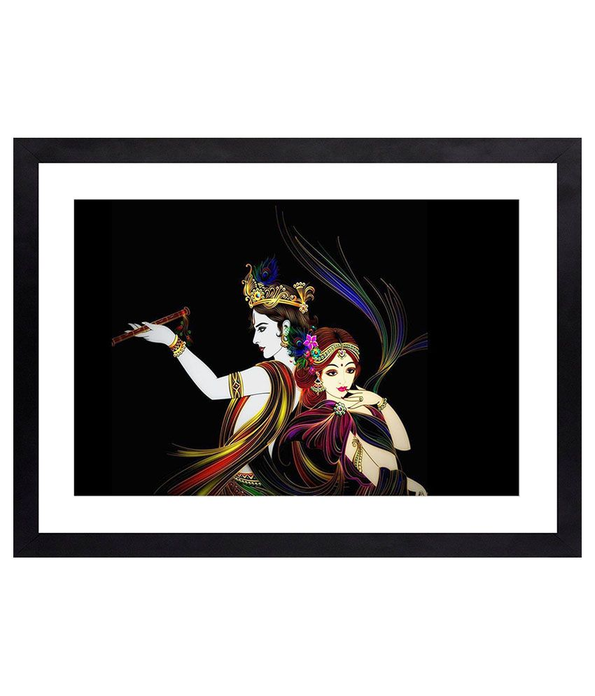 Craftsfest Radha Krishna God of bleshing Canvas Painting With Frame Single Piece