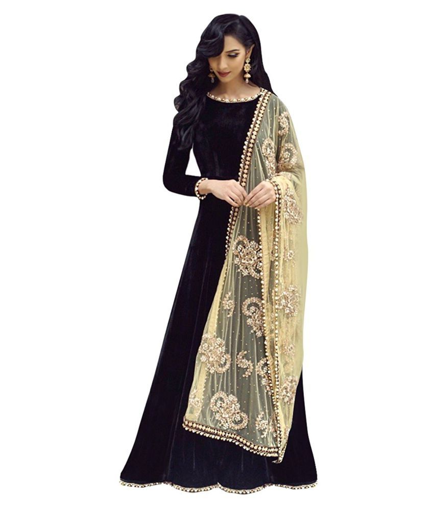 ddea04397a The Shopoholic Beige and Grey Velvet Anarkali Gown Semi-Stitched Suit - Buy  The Shopoholic Beige and Grey Velvet Anarkali Gown Semi-Stitched Suit Online  at ...