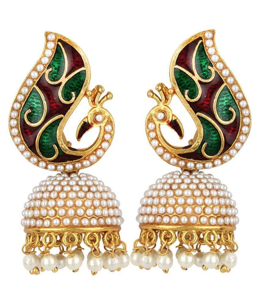 Jewels Capital Exclusive Golden White Green Maroon Multi Color Earrings