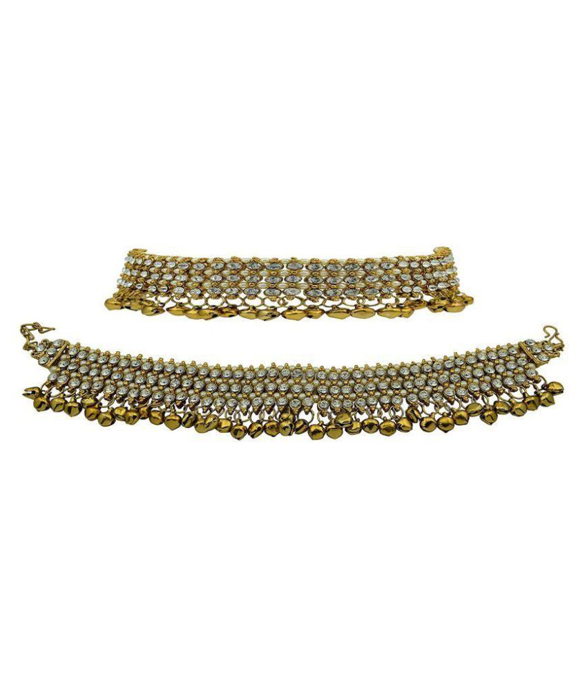 Jewels Gold Multicolor Pair of Anklets