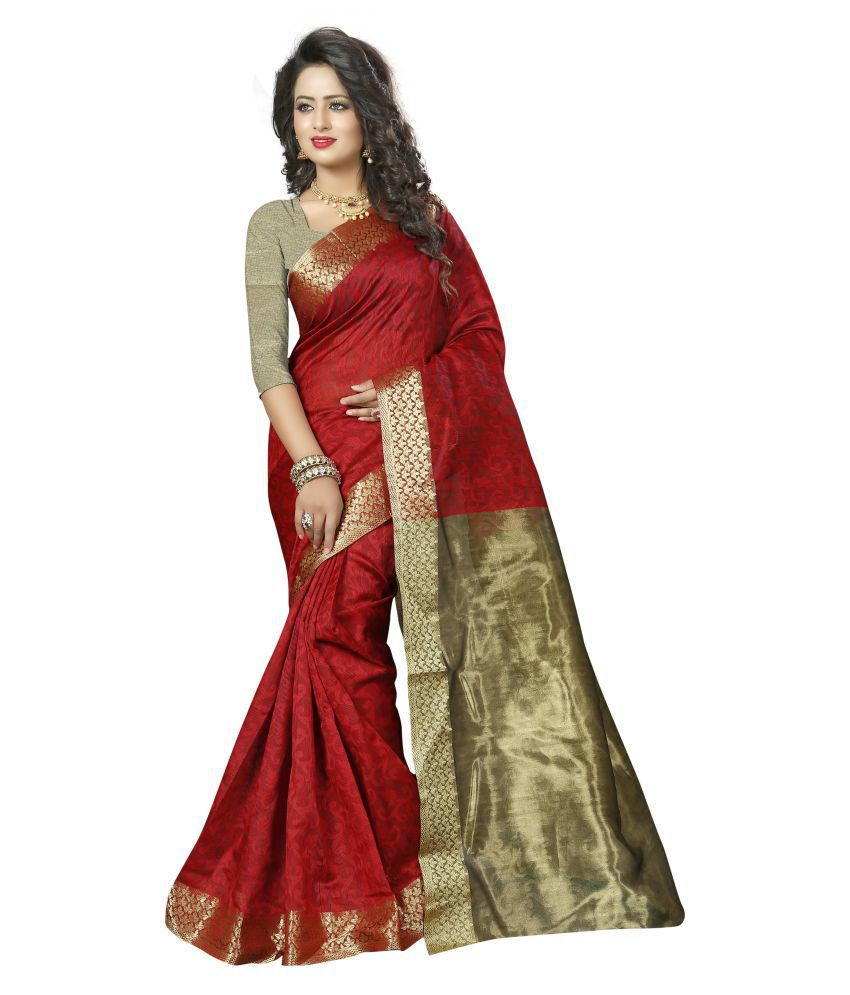 Fab Brand Red Cotton Silk Saree