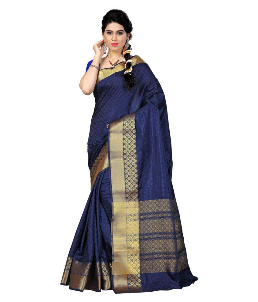 Inheart Blue Tussar Silk Saree