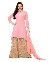 Ethnic Empire Pink Georgette Anarkali Semi-Stitched Suit