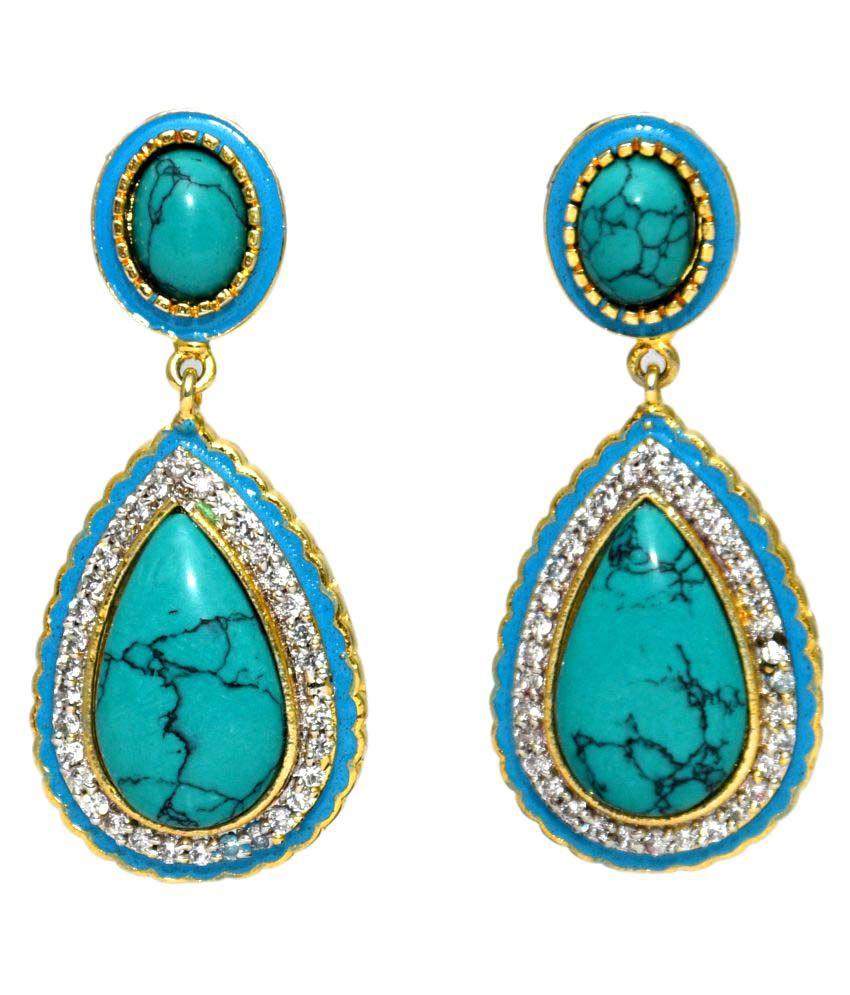 Bls Real Green Brass Dangle & Drop Earrings For Women