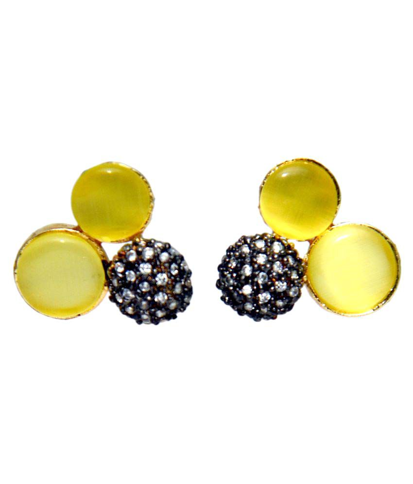 Bls Real Multicolour Brass Studs Earring