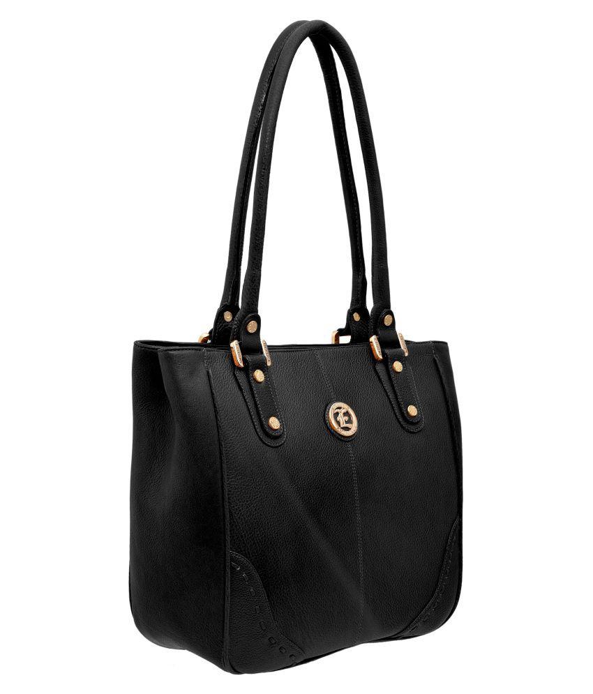JFL - Jewellery for Less Black Pure Leather Shoulder Bag