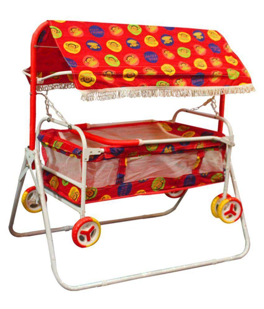 AdevWorld Baby Cradle Cum Cot Cum Stroller ( Red )