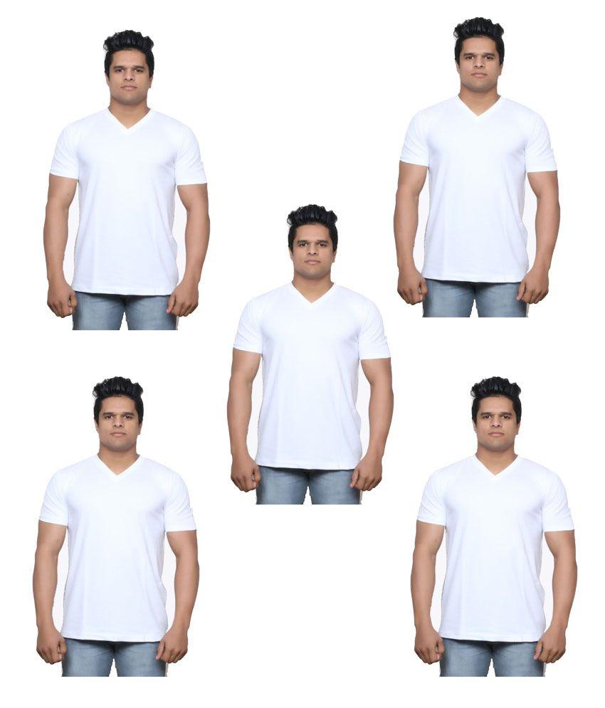 Indiweaves White V-Neck T-Shirt Pack of 5