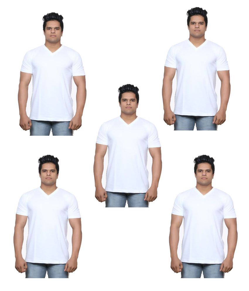 Indiweaves White V-Neck T-Shirt Pack of 5