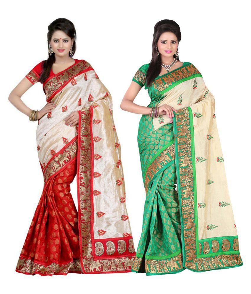 Aksh Fashion Multicoloured Cotton Saree Combos