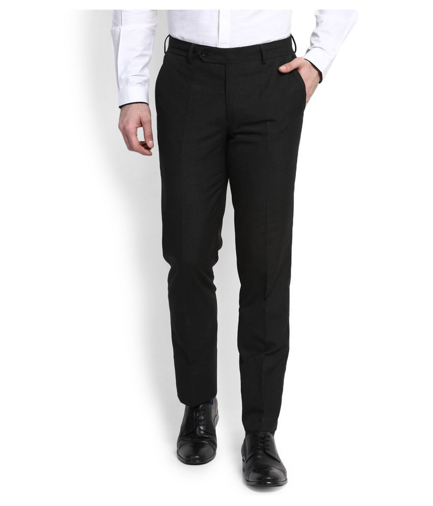 Wills Lifestyle Black Slim Flat Trousers