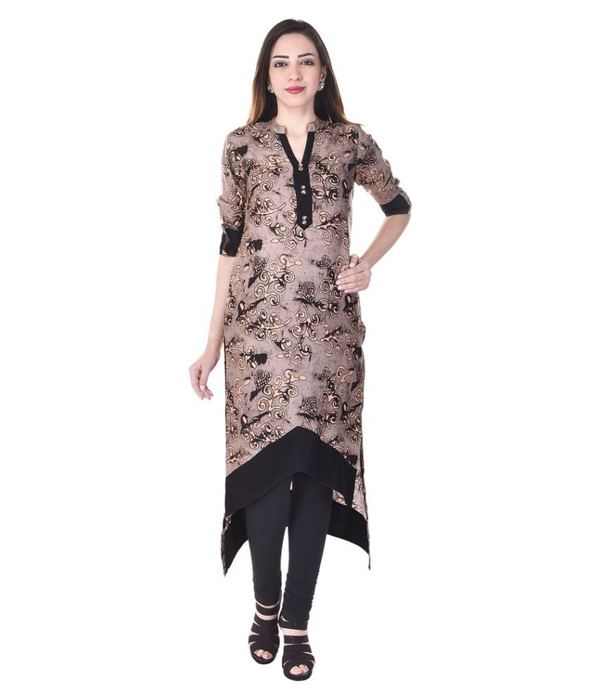 Colour Cluster Brown Rayon Asymmetrical Hemline Kurti