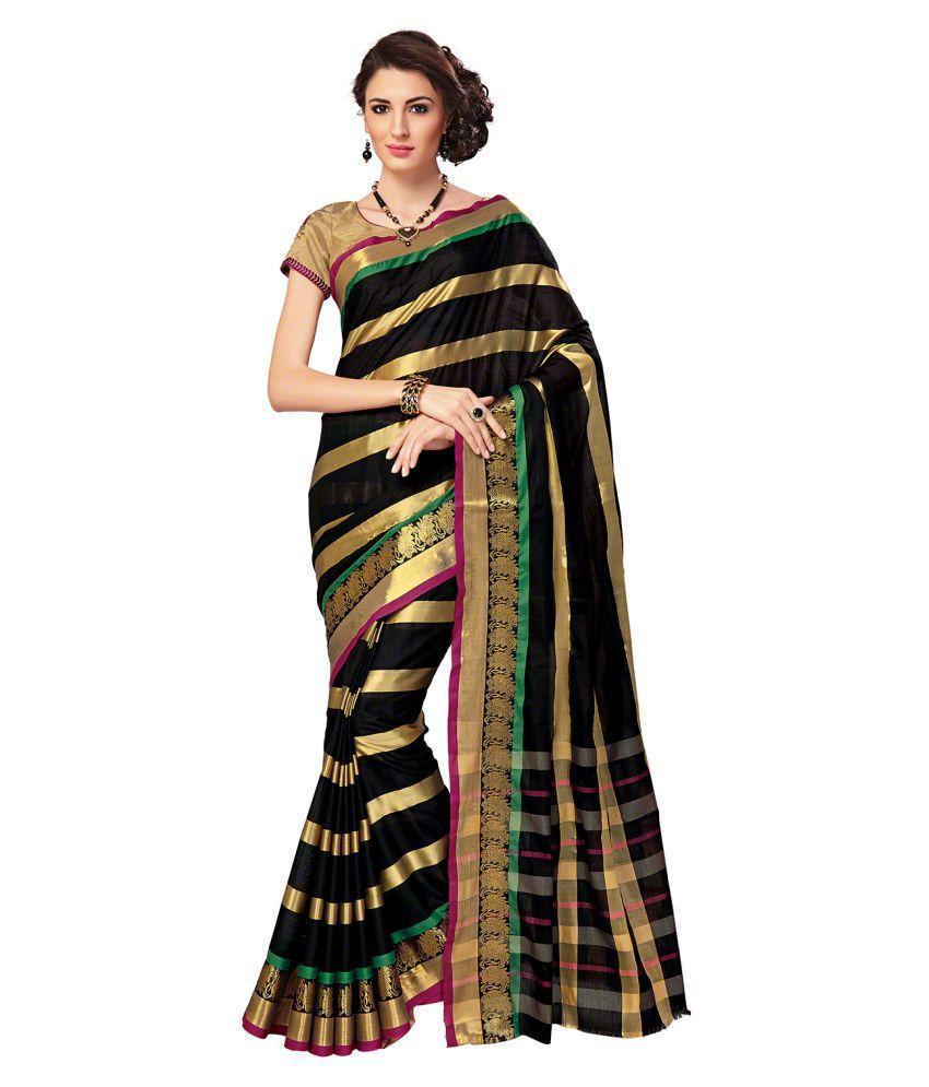 Signature Fashion Black Cotton Silk Saree