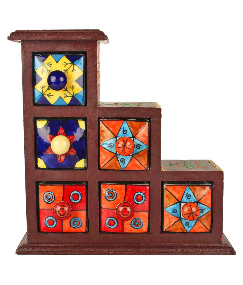 Decor Mart - Wooden and Ceramic Jewelery Box - 9.5 x 9.5