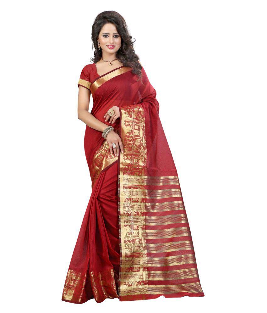 Li Te Ra Red Cotton Silk Saree