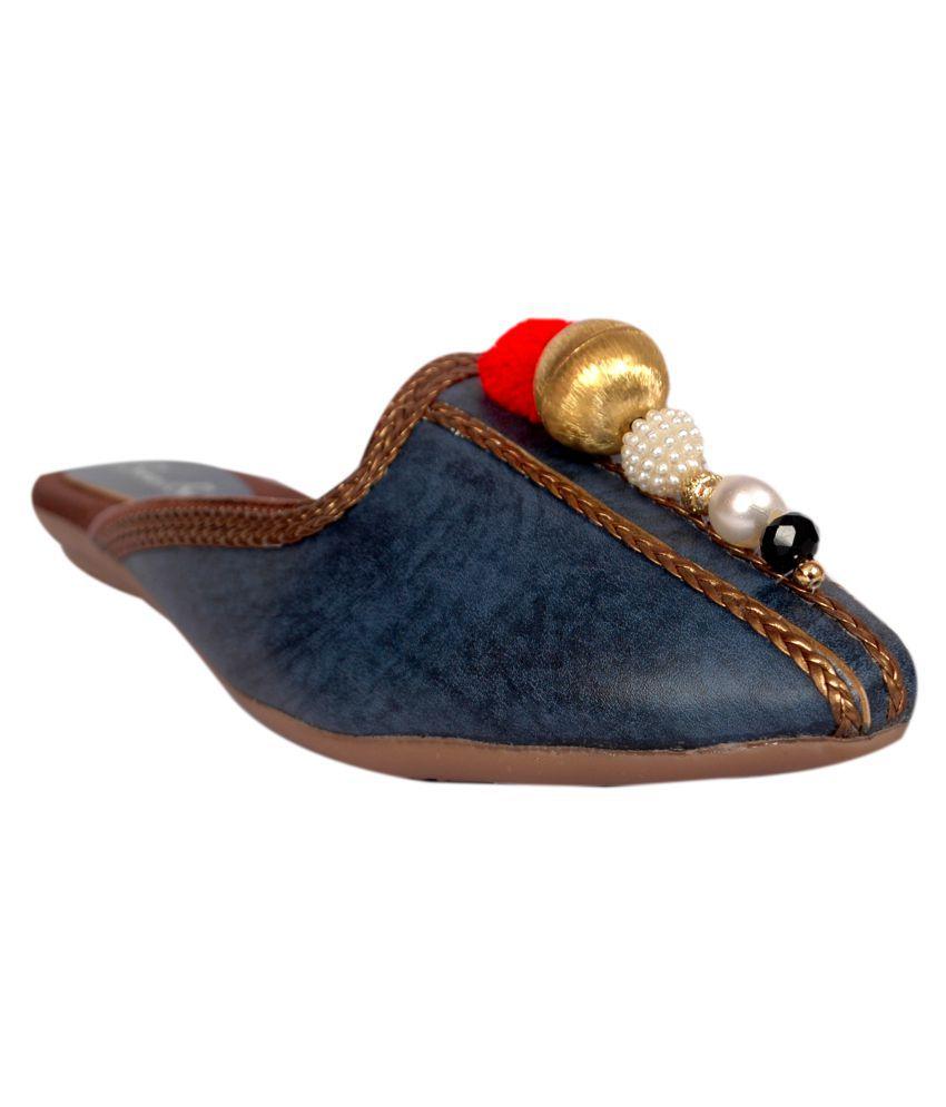 Bora Bora Blue Flat Ethnic Footwear